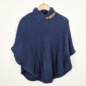 Banana Republic Blue Knit Pancho Leather Poncho